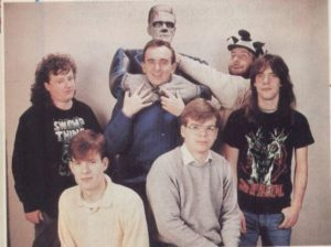 Bullfrog. From left: Glenn Corpes (artist), Shaun Cooper (tester), Peter Molyneux (designer and programmer), Kevin Donkin (designer and programmer), Les Edgar (office manager), Andy Jones (artist and tester).