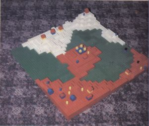 Lego Populous. Bullfrog had so much fun with this implementation of the idea that they seriously discussed trying to turn it into a commercial board game.