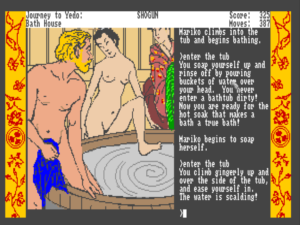 "Shogun is the only Infocom game outside of Leather Goddesses of Phobos in which you have to ""make love to"" someone -- or use another euphemism -- in order to score points."