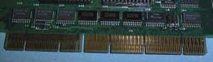 This shot of an EISA card illustrates the unique two-layer connection that allowed the same sockets to work for both the older ISA standard and the newer EISA. The shorter pins correspond to the older 16-bit standard; the longer extend it to 32 bits.