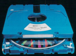 The LMS LaserDrive is typical of the oddball formats that proliferated during the early years of optical data storage. It can hold 1 GB on each side of a double-sided disc. Unfortunately, each disc cost hundreds of dollars, the unit itself thousands.