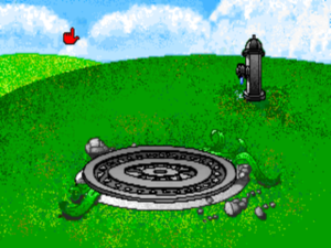 In my opinion, The Manhole lost a little bit of its charm when it was colorized. The VGA graphics, impressive in their day, look a bit garish today.