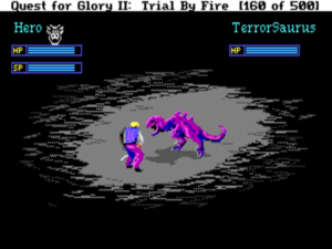 The combat system used in the Quest for Glory games would change constantly. The one found in the second game is a little more responsive and playable than its predecessor.
