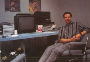 David Riordan on the job at Cinemaware.