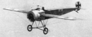 "A Fokker Eindecker (""monoplane"") of the sort which, equipped with the first synchronizer gear, terrorized the Allies on the Western Front during the fall of 1915."