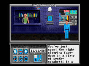 "The opening of the game. Case, now recast as a hapless loser, not much better than a space janitor, wakes up face-down in a plate of ""synth-spaghetti."""
