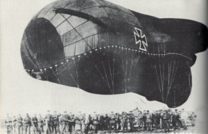 "A German ""Drachen"" (literally ""dragon""), or observation balloon, about to go aloft."